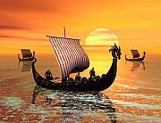 A Viking Ship On The Move Print by John Junek