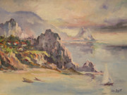 Seascape With Cloudy Sky Prints - A village behind the cliff Print by Tigran Ghulyan