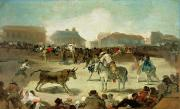 Village Scene Paintings - A Village Bullfight  by Goya