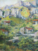 Landscape With Mountains Originals - A village nestled in the foothills by Tigran Ghulyan