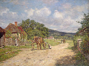 Mountain Road Painting Posters - A Village Scene Poster by James Charles