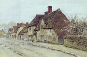 Country Cottage Framed Prints - A Village Street Kent Framed Print by Helen Allingham