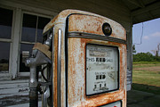 Pumps Prints - A Vintage Gas Pump Recalls The Open Print by Stephen St. John
