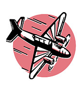 Air Travel Prints - A Vintage Illustration Of An Airplane Print by Coco Flamingo