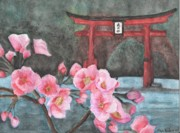 Cherry Blossoms Drawings Posters - A Vision of Dhyana Poster by Christopher Brooks