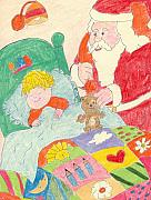 Santa Claus Drawings Posters - A Visit From Santa Poster by Sonya Chalmers