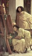 At Work Painting Prints - A Visit to the Studio Print by Sir Lawrence Alma-Tadema