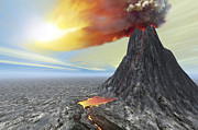 Volcanic Activity Framed Prints - A Volcano Bursts Forth With Hot Lava Framed Print by Corey Ford