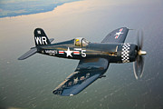 Aerial View Posters - A Vought F4u-5 Corsair In Flight Poster by Scott Germain