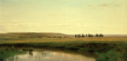 Great Painting Metal Prints - A Wagon Train on the Plains Metal Print by Thomas Worthington Whittredge