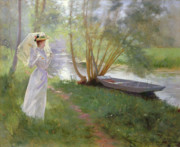 White Dress Prints - A walk by the river Print by Pierre Andre Brouillet