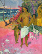 Paul Gauguin Framed Prints - A Walk by the Sea Framed Print by Paul Gauguin