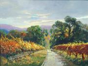 Autumn Vineyards Paintings - A Walk In Autumn by Paul Youngman