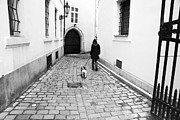 Dog Walking Metal Prints - A Walk in Prague Metal Print by John Rizzuto