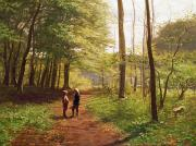 Path Painting Prints - A Walk in the Forest Print by Niels Christian Hansen