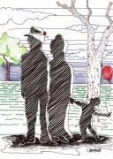 Silhouette Drawings - A Walk in the Park by Teddy Campagna