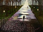 Park Painting Originals - A Walk in the Park by Tim Mattox