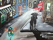Raining Paintings - A Walk in the Rain by Camille Roman