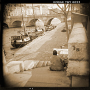 Black White Photography Digital Art Framed Prints - A Walk Through Paris 1 Framed Print by Mike McGlothlen
