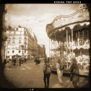 Vintage Digital Art Metal Prints - A Walk Through Paris 4 Metal Print by Mike McGlothlen