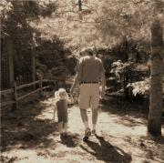 A Walk With Papa Print by Laurianne Nash