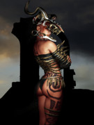 Tribal Art Digital Art - A Warrior Stands Alone by Alexander Butler