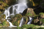 Front View Art - A Waterfall In The Rocky Mountains by Robbie George
