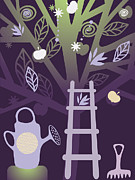 Rake Digital Art Prints - A Watering Can, A Rake, And A Ladder Propped Against An Apple Tree Print by Yulia Drobova