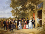 Family Love Paintings - A Wedding at the Coeur Volant by French School