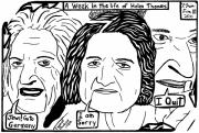 Maze Cartoon Framed Prints - A Week in the life of Helen Thomas by Yonatan Frimer Framed Print by Yonatan Frimer Maze Artist