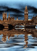 Storm Digital Art - A wet day in London by Sharon Lisa Clarke