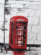 Telephone Drawings Framed Prints - A wet day on the London Street Framed Print by Trilby Cole