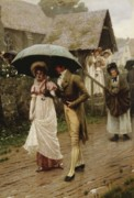 Umbrella Painting Posters - A Wet Sunday Morning Poster by Edmund Blair Leighton