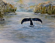 Humpback Whale Painting Framed Prints - A whales tail  Framed Print by John Garland  Tyson