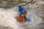Bravery Prints - A Whitewater Kayaker Getting Vertical Print by Skip Brown