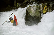 White Salmon River Prints - A Whitewater Kayaker Plays At The Base Print by Skip Brown