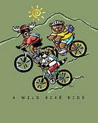 Animal Drawings Posters - A Wild Bike Ride Poster by Renee Womack