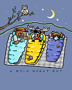 Owls Drawings - A Wild Night Out by Renee Womack