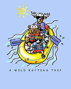 Whimsical Illustration Posters - A Wild Rafting Trip Poster by Renee Womack
