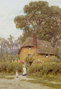 Tall Tree Paintings - A Wiltshire Garden by Helen Allingham