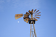 Sawmill Prints - A Windmill At Dusk On A Sawmill Farm Print by Joel Sartore