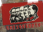 Marx Framed Prints - A Window Decal Of Communist Leaders Framed Print by Richard Nowitz