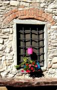 Window Bench Photos - A window in Tuscany by Sharon Blanchard