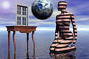 Surrealist Digital Art - A Window into the Virtual Reflection of the Anima by Jon Gemma In Your Living Room