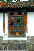 Window Bars Prints - A Window with Flowers Print by Tom Bell