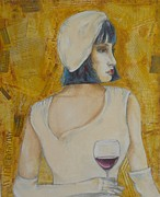 Women Tasting Wine Metal Prints - A Wine Tasting Evening Metal Print by MaryAnn Ceballos