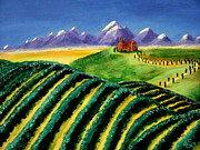 Vines Paintings - A Winery in Tuscany by Spencer Hudon II