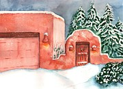 Casa Painting Originals - A Winter Clad Santa Fe by Sharon Mick