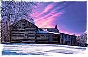 Log Cabin Digital Art Prints - A Winter Dream Print by Steve Harrington