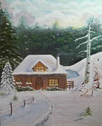 Winterscape Painting Originals - A Winter Dream by Terry Godinez